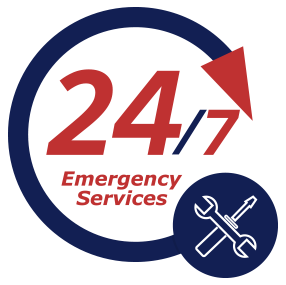 A logo stating our 24/7 availability for heating and cooling service
